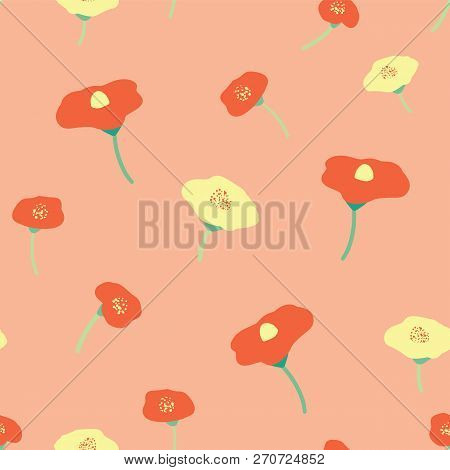 Poppy Flowers Red Yellow Seamless Vector Background. Poppies On Pink Coral Peachy Background. Retro