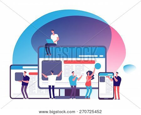 Responsive Design Vector Concept. People Creating Responsive Web Application With Tablet And Phone,
