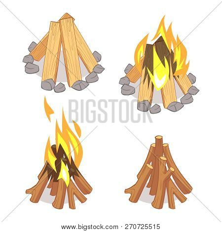 Cartoon Character Wooden Logs And Campfire Isolated On White Background. Illustration Of Campfire An