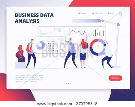 Landing Page Template. Digital Marketing Analyst, Marketing Business Website Vector Design With Cart