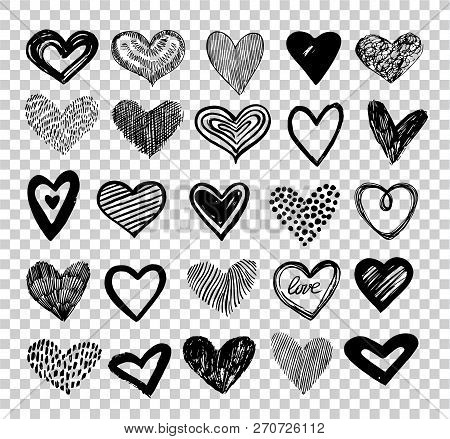 Doodle Hearts. Hand Drawn Love Heart Icons. Scribble Sketch Valentine Grunge Hearts Vector Elements