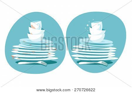 Clean And Dirty Dishes. Kitchen Plates Before And After Washing. Kitchen Utensils Wash Vector Concep