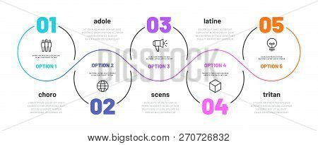 Line Step Infographic. 5 Options Workflow Diagram, Number Infograph, Process Steps Chart With Line I