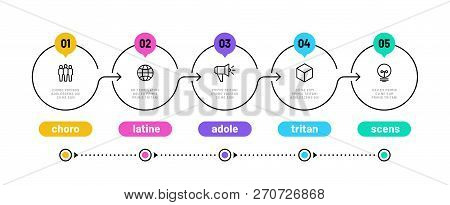 Line Step Infographic. 5 Options Workflow Diagram, Circle Timeline Number Infograph, Process Steps C