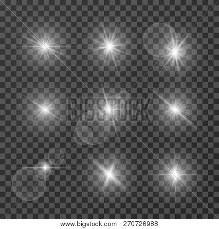 Lens Effects. Camera Flash Light, Flare. White Light Spot Glowing Sparkles, Starlight Isolated On Tr