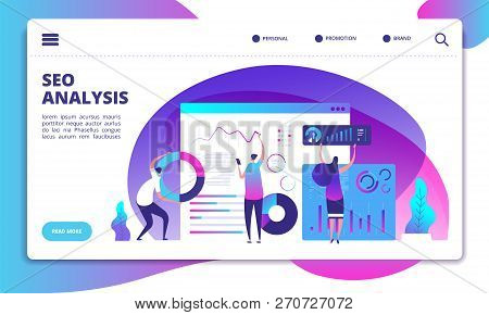 Seo Analysis. Internet Marketing, Modern Social Technology. Seo Service Landing Page Vector Concept.
