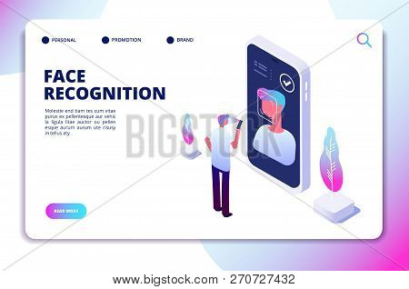 Face Recognition Isometric Concept. Id Verification Smartphone Scanner. Personal Identify, Face Auth