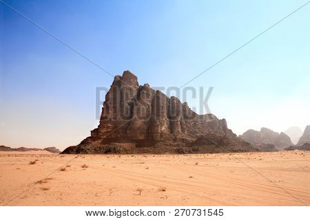 Beautiful landscape with rocky mountain Seven Pillars of Wisdom in Wadi Rum desert (Valley of the Moon), Jordan. UNESCO world heritage site