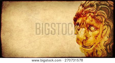 Background with grunge paper texture of yellow color and ancient stone figure of lion. Copy space for text. Mock up template
