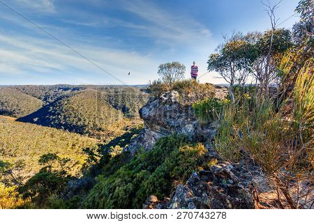 Blue Mountains Views From A Rocky Ledge On The Ridge Line With An Oulook For Mile And Miles
