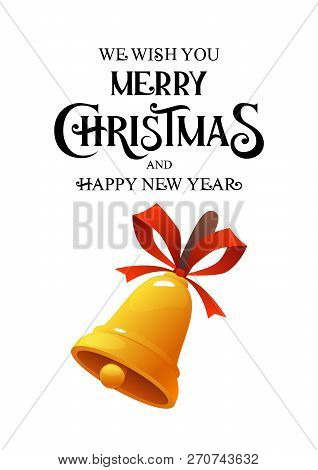 Merry Christmas Vintage Vector Gold Bell On White Background