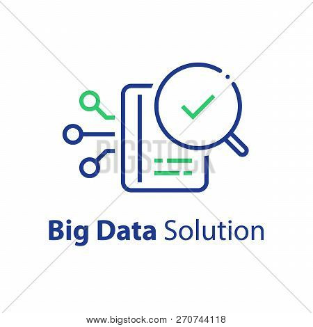 Big Data Capturing, Storage And Analysis, Technology Solution Concept, Vector Line Icon, Linear Illu