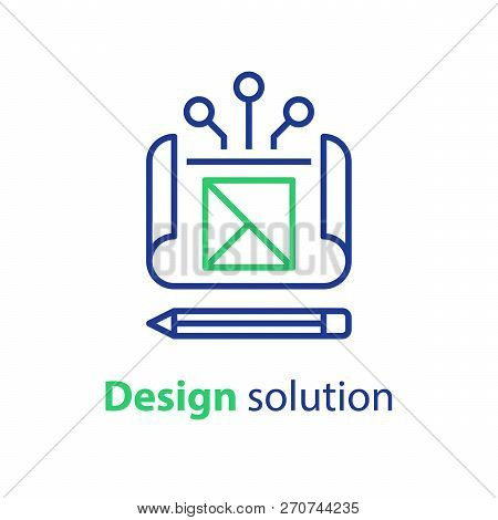 Design Solution, Project Blueprint, Engineering And Development, Technical Assignment, Vector Icon,