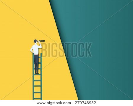Businessman On A Ladder Looking Through Telescope Vector Concept. Symbol Of Future, Career Developme