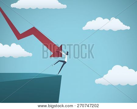 Bankrupt Businesswoman Falling Off A Cliff, Pushed By Downward Arrow. Symbol Of Bankruptcy, Failure,