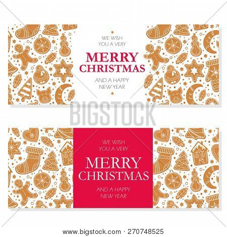 Invitation Merry Christmas Banner With Gingerbread Cookies