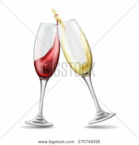 Two Wine Glasses With Splash Of Red And White Wine, Celebratory Toast, Realistic Illustration Isolat