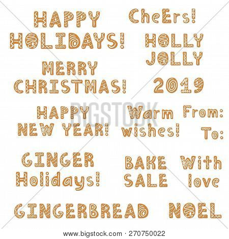 Set Of Christmas Gingerbread Cookies Lettering