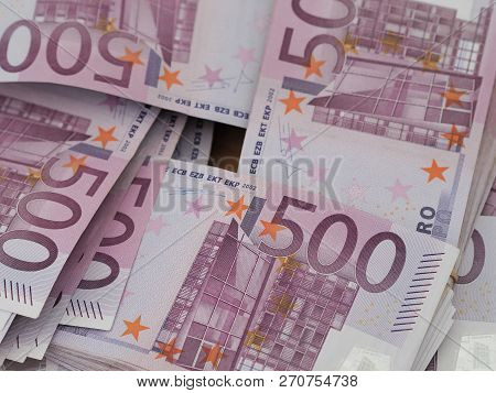 Stacks Of Red German 500 Euro Notes In A Square Arrangement