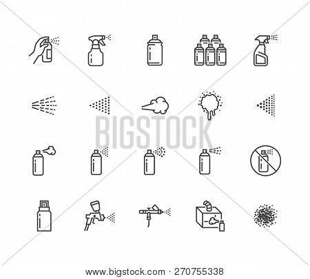Spray Can Flat Line Icons Set. Hand With Aerosol, Airbrush, Powder Coating, Graffiti Art, Cough Effe