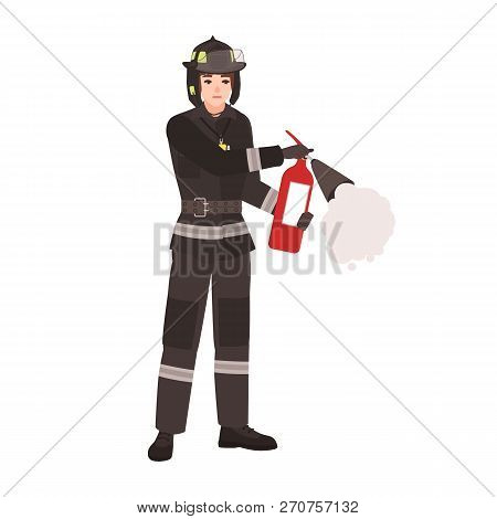 Firefighter, Fireman Or Rescuer Wearing Fireproof Protective Uniform, Helmet And Holding Fire Exting