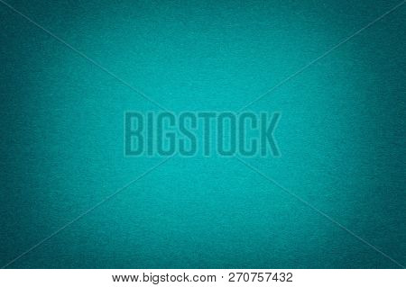 Texture Of Vintage Dark Green Paper Background With Vignette. Structure Of Dense Blue Kraft Cardboar