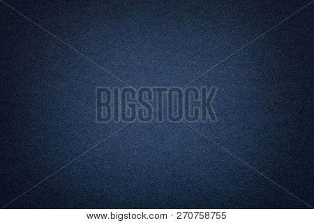 Texture Of Vintage Dark Denim Paper Background With Vignette. Structure Of Dense Navy Blue Kraft Car