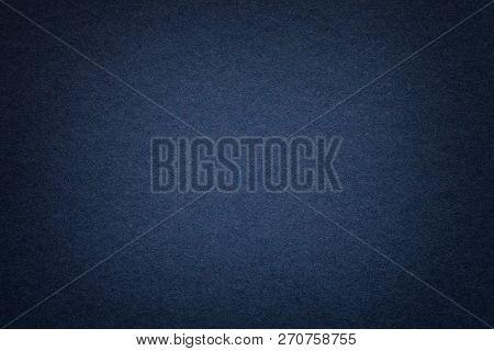 Texture Of Vintage Dark Denim Paper Background With Vignette. Structure Of Dense Navy Blue Kraft Car