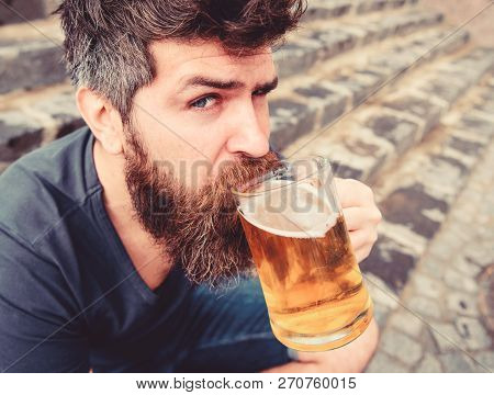 Guy Having Rest With Cold Draught Beer. Hipster On Calm Face Drinking Beer Outdoor. Draught Beer Con