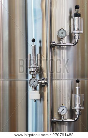 Nuremberg, Germany - November 13, 2018: Arrangement Of 3 Metering Units On A Stainless Fluid Tank