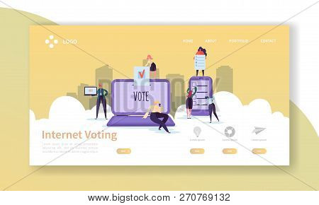 Voting Elections Landing Page Template. Business People Characters Internet Voting Concept For Websi