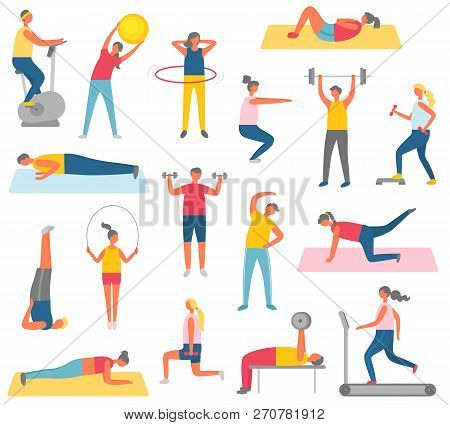 Characters Doing Fitness With Sport Items. Rubber Ball, Big Hula Hup, Heavy Weight Or Dumbbells, Run