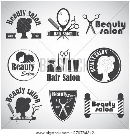 Set Of Vector Emblem, Label, Badge, Logos For Hairdressers Salon, Hair, Beauty Salon.