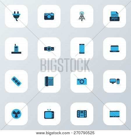 Device Icons Colored Set With Socket, Printer, Pc And Other Cooler Elements. Isolated Vector Illustr