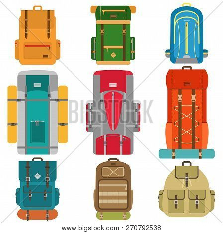 Set Of Camping Backpacks. Tourist Hiking Backpacks With Sleeping Bags. Flat Design Vector Illustrati
