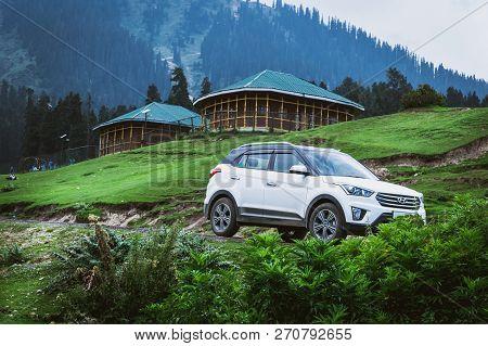 Doodhpathri, Jammu & Kashmir, India: Dated- August 20, 2018: A Hyundai Creta Car In A Health Resort