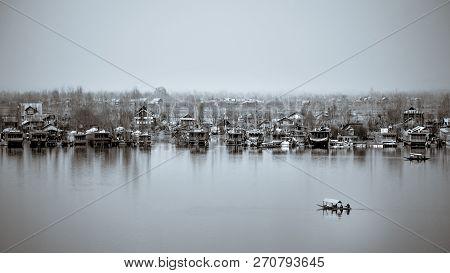 Monochromatic Vintage Look Of A Shikara In Dal Lake