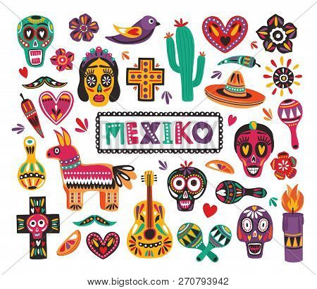 Set Of National Mexican Symbols And Traditional Day Of The Dead Decorations Isolated On White Backgr