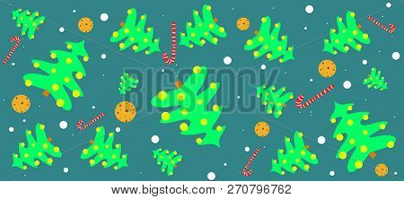 Christmas Trees, Sweet Candy Canes, Brownies And Snow Flakes Usable As Decorative Christmas Backgrou