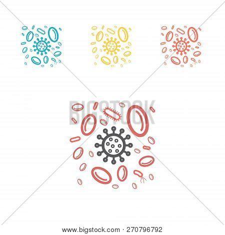 Lymphocytes Attacking Viruses Line Icon. Vector Medical Illustration On Immunity