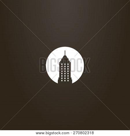 White Sign On A Black Background. Vector Flat Art Negative Space Round Sign Of Skyscraper With A Spi