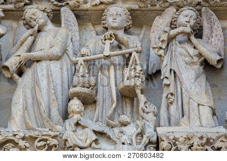 Amiens, France - February 9, 2013: Sculpture At The Famous Gothic Cathedral Of Amiens, France, Depic