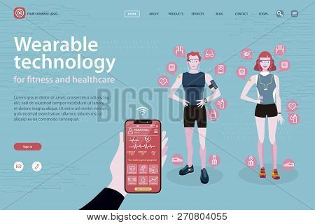 Sport Man And Sport Woman In Sportswear With Wearable Devices With Technology For Monitoring Health