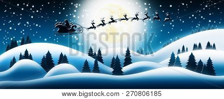 Santa Claus Rides Reindeer Sleigh In Christmas Night Over The Snow Fields With Full Moon And Starry