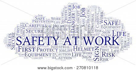 Safety At Work Word Cloud. Word Cloud Made With Text Only.