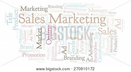 Word Cloud With Text Sales Marketing. Wordcloud Made With Text Only.