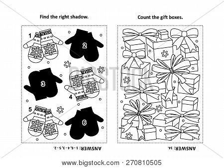 Two Visual Puzzles And Coloring Page For Kids. Find The Shadow For Each Picture Of Knitted Mittens.