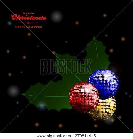 3d Illustration Of Merry Christmas And Happy New Year Black Glowing Background With Decorative Text