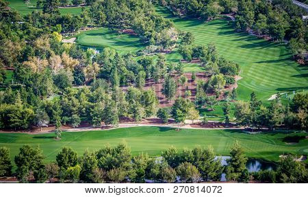 Beautiful Aerial Of A Golf Resort In Las Vegas Nevada