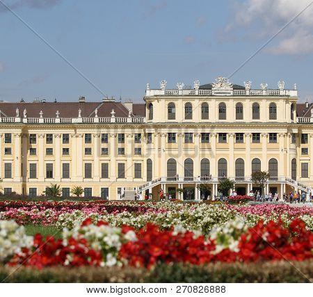 Wien, Austria - August 25, 2014:  Schonbrunn Castle And Flowers Of The  Beautyfull Garden